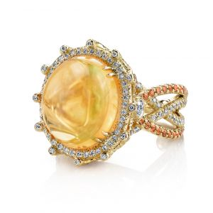 Fire Opal Crossover Ring